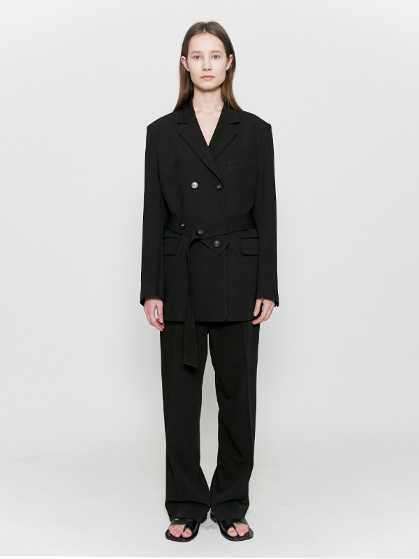 Belted Double Blazer Black