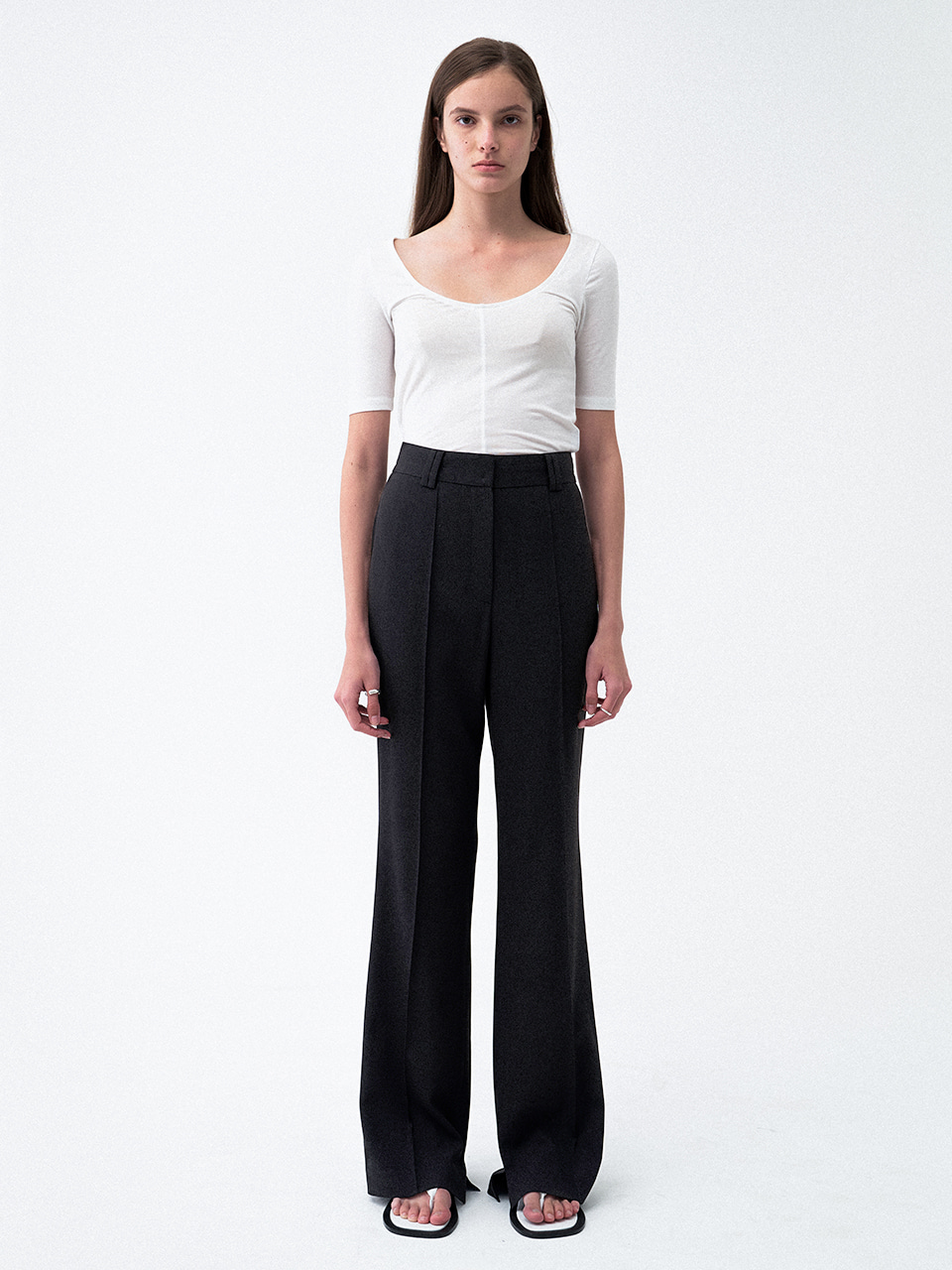 Pin Tuck Slit Slacks Black