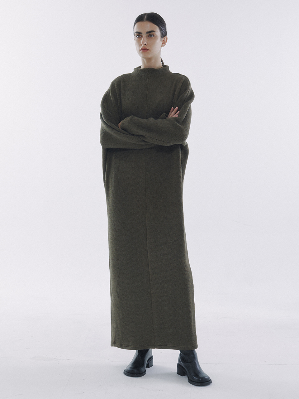 Half-Neck Knitted Jersey Dress Olive