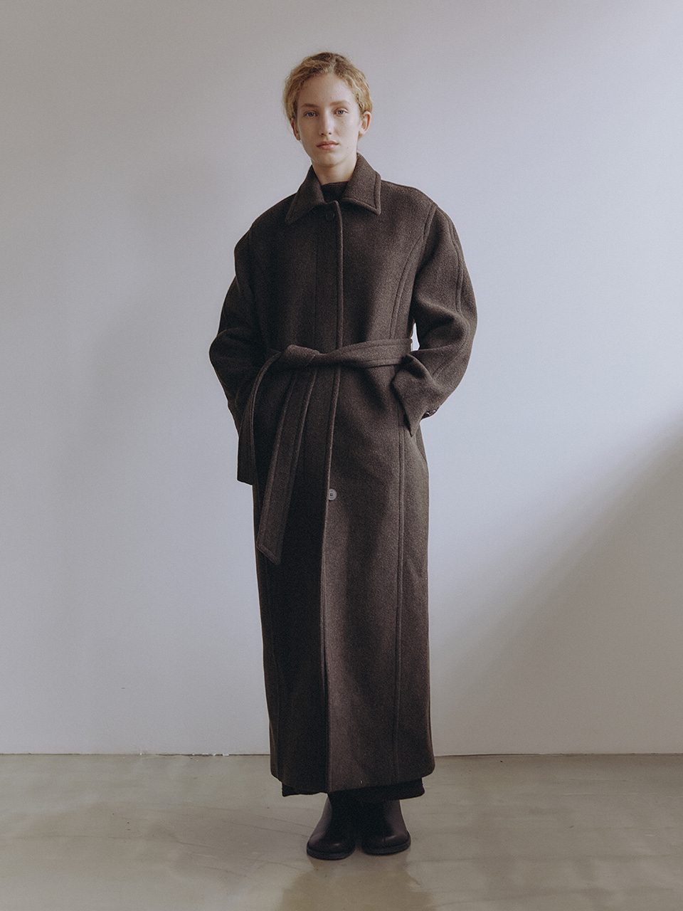 Belted Volume Mac Coat Dark Brown