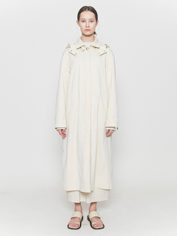Hooded Trench Coat Ivory