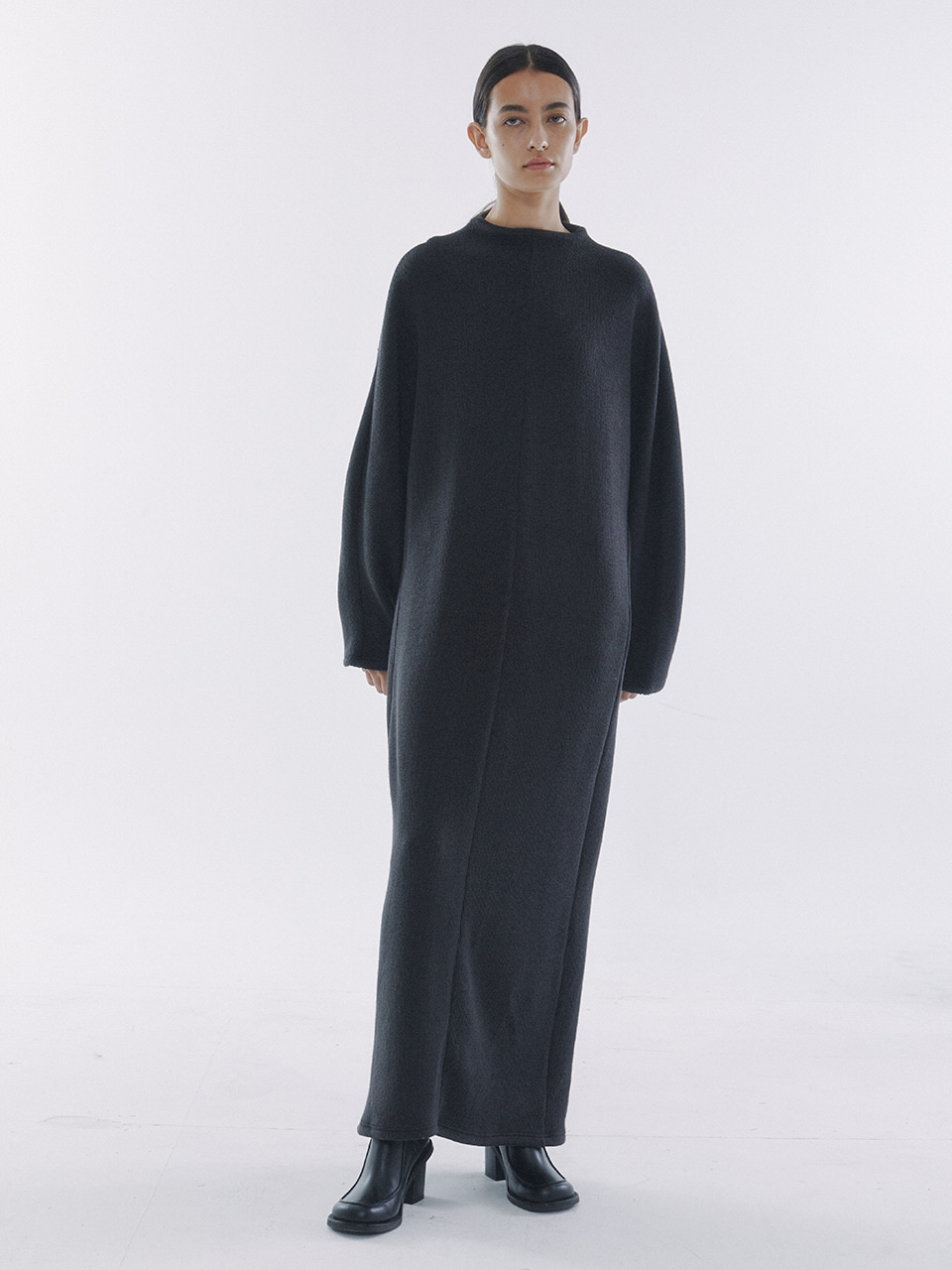 Half-Neck Knitted Jersey Dress Charcoal