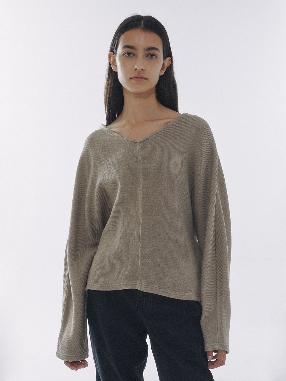 V-Neck Knitted Jersey Top Sand Beige