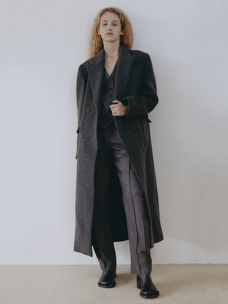 Wool Blended Classic Double Coat Charcoal