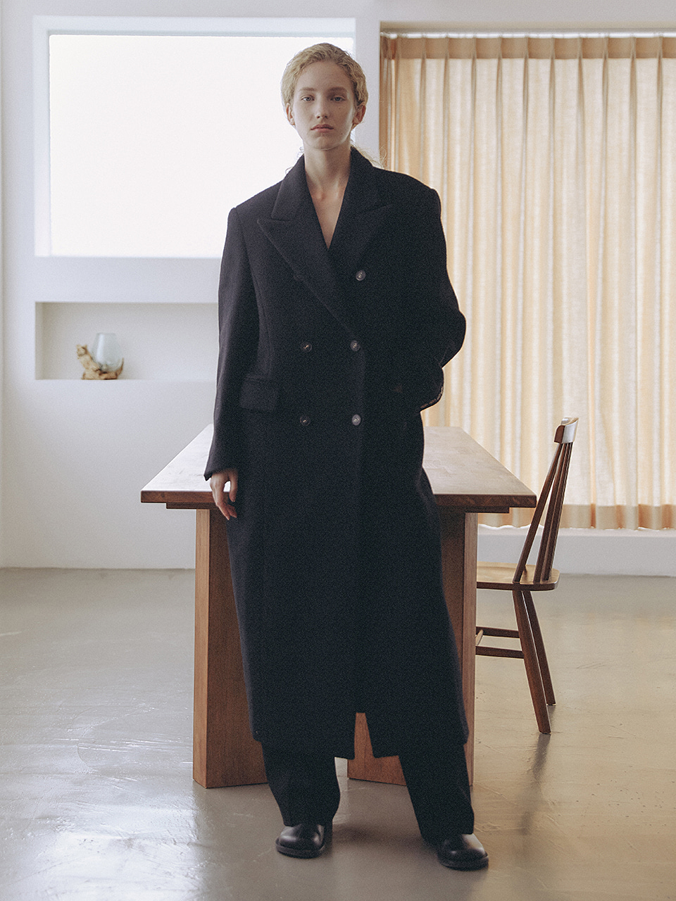 Wool Blended Classic Double Coat Black