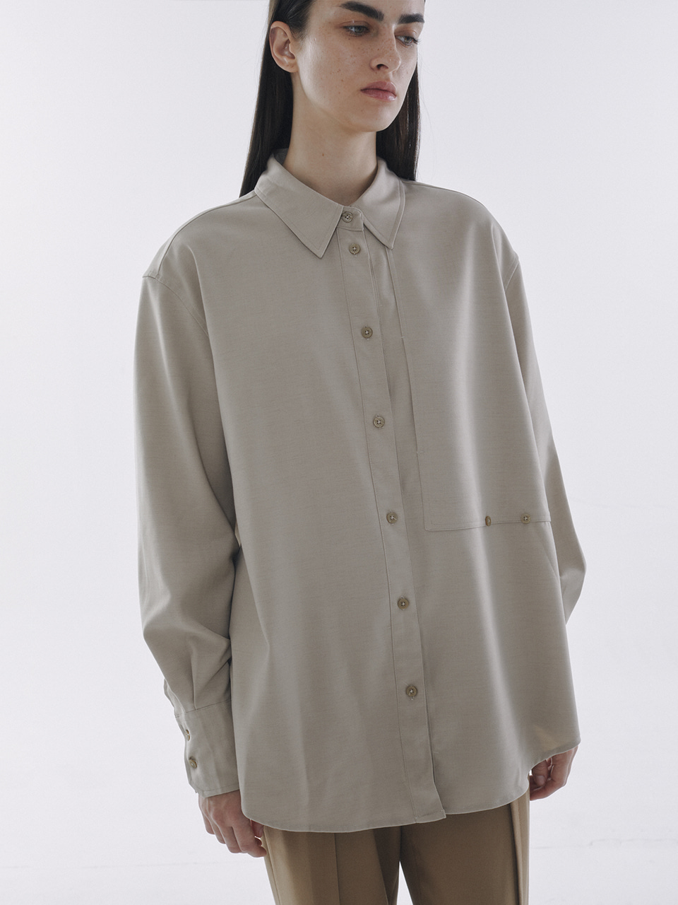 2Way Wrap Shirts Beige