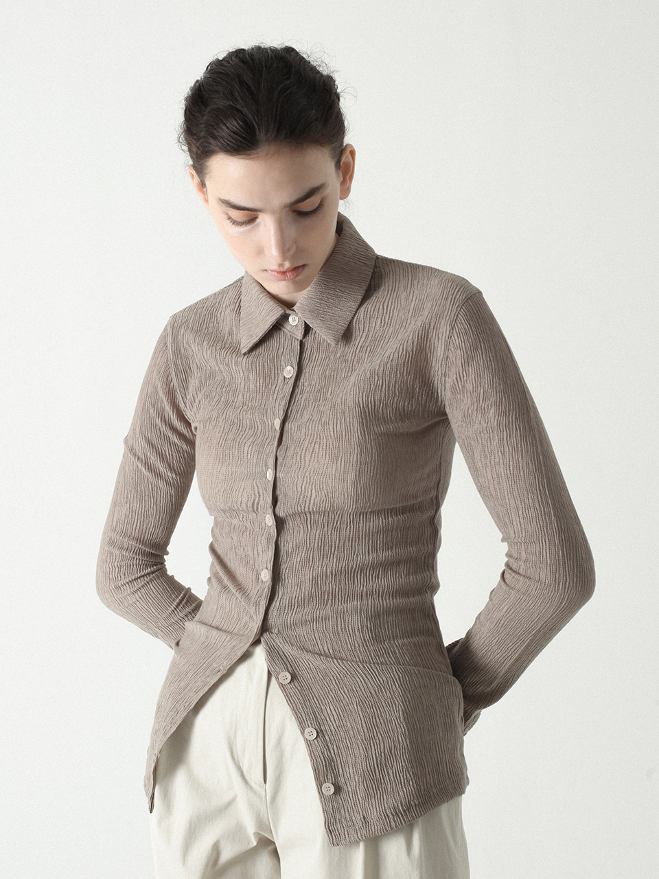 Pleats Shirts Beige