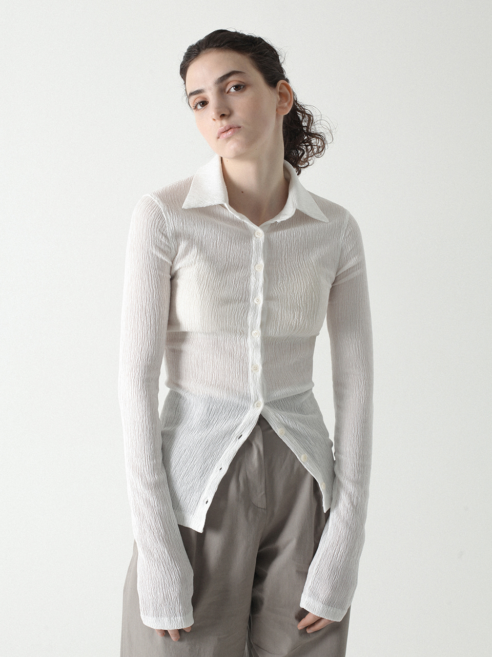 Pleats Shirts White