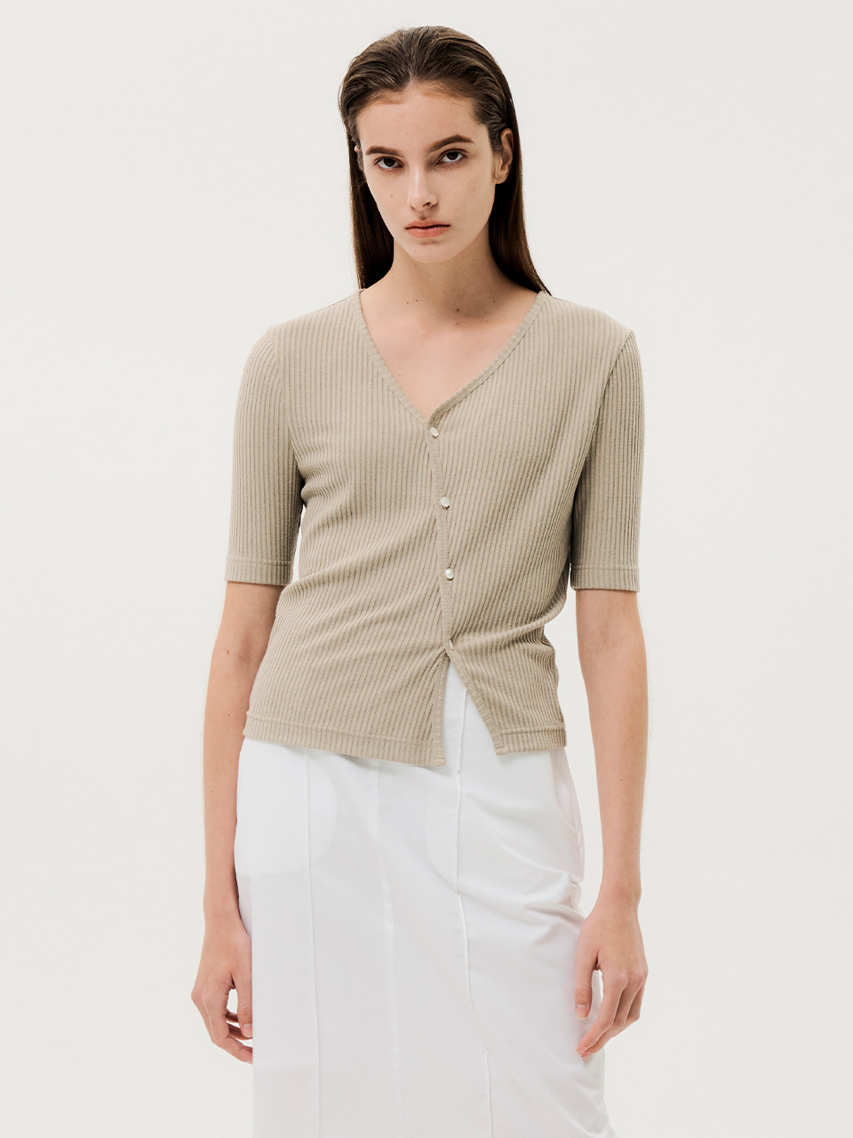 Unbalanced Button-up Top Khaki Beige