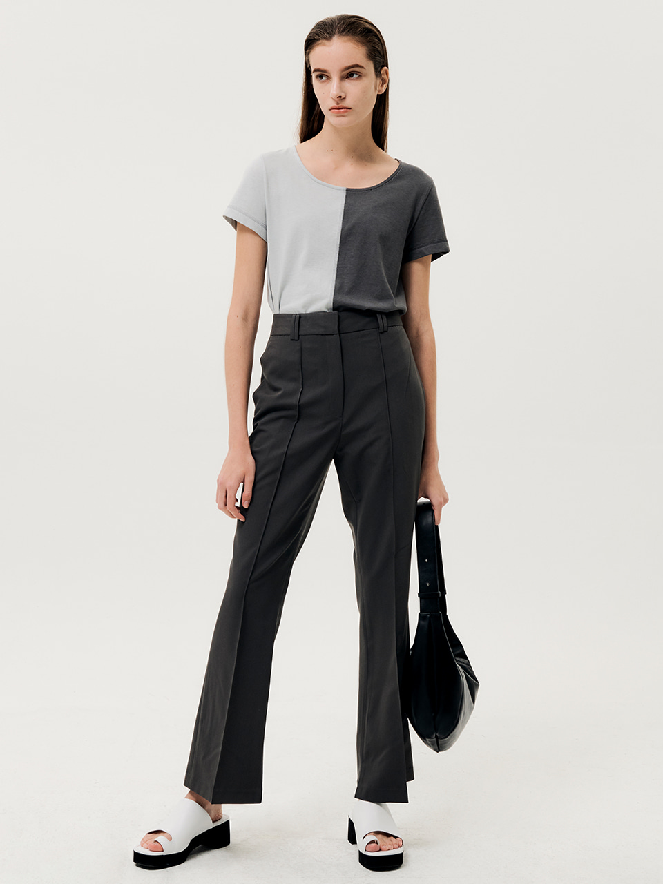Pin Tuck Slit Slacks Charcoal