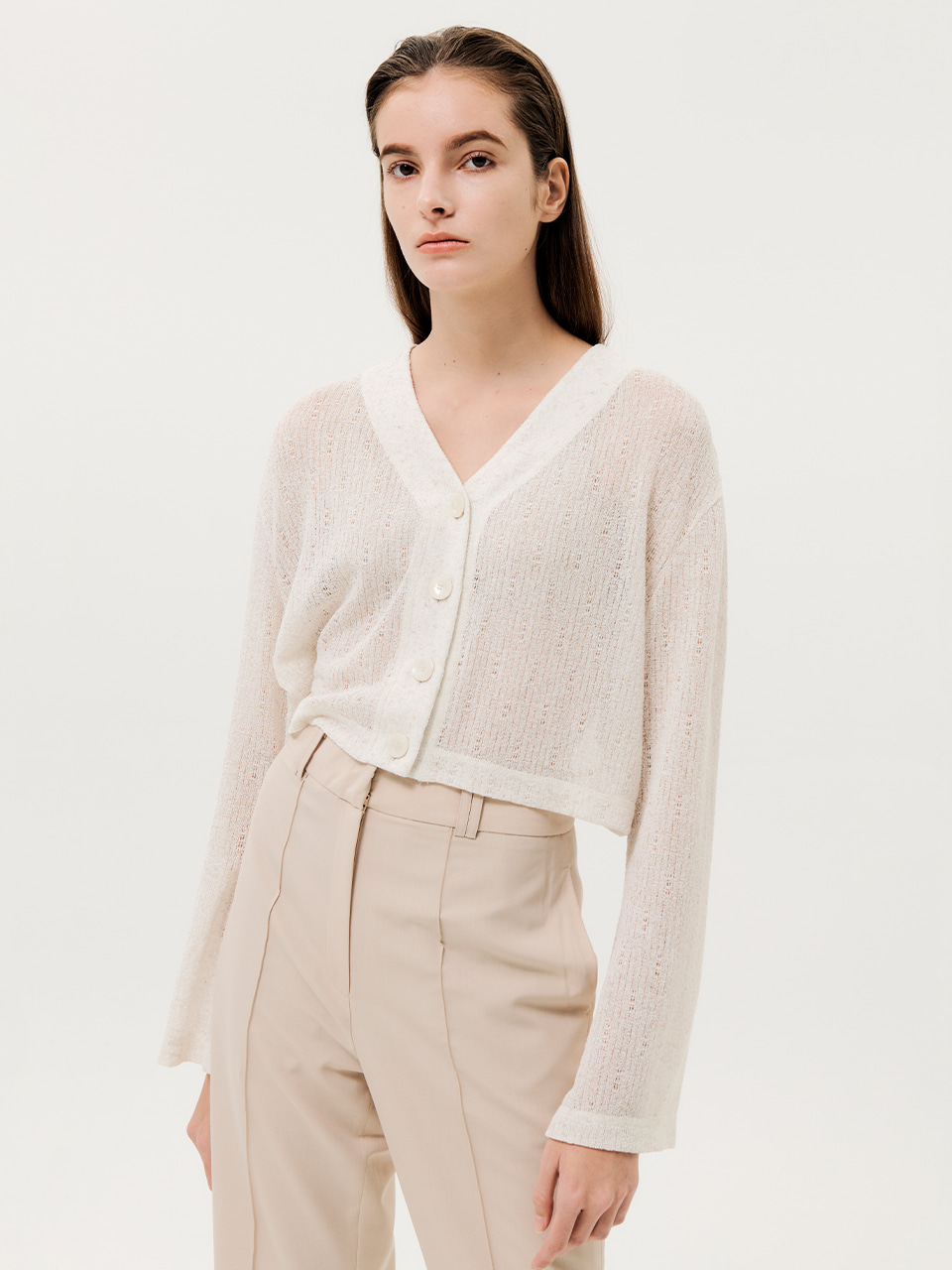 Cropped Sheer Cardigan Ivory