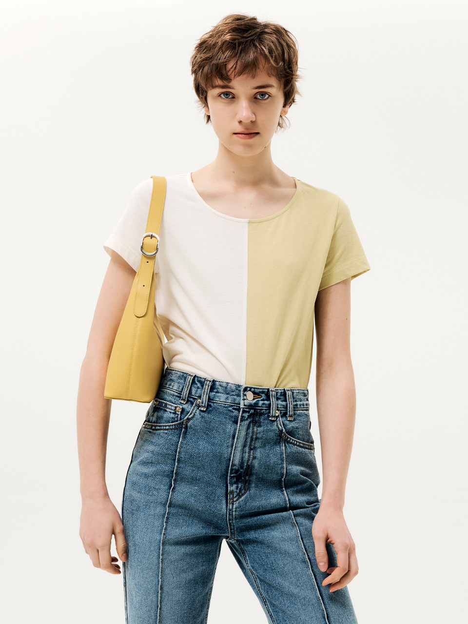Half Color Block T-shirt Yellow