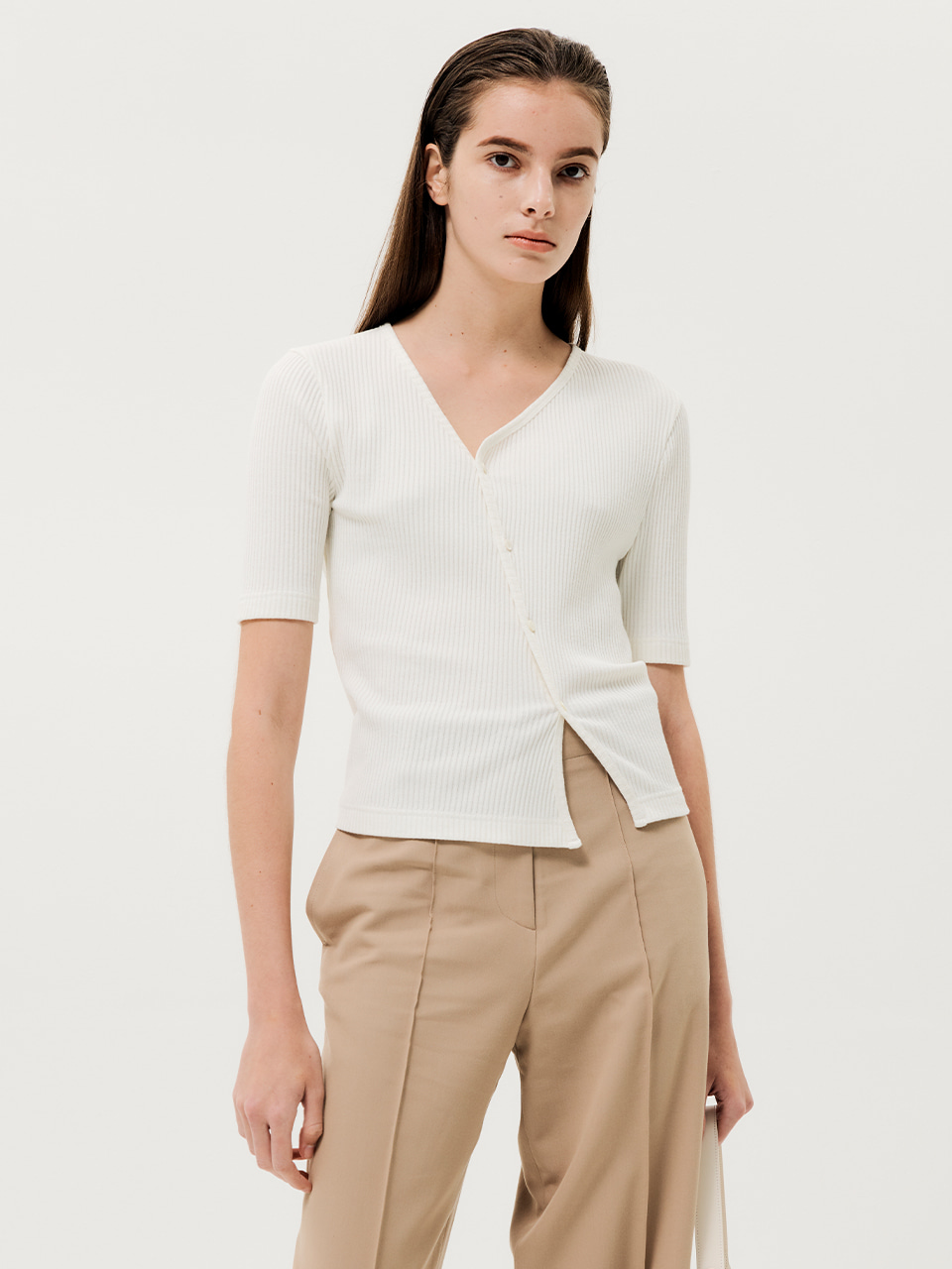 Unbalanced Button-up Top White