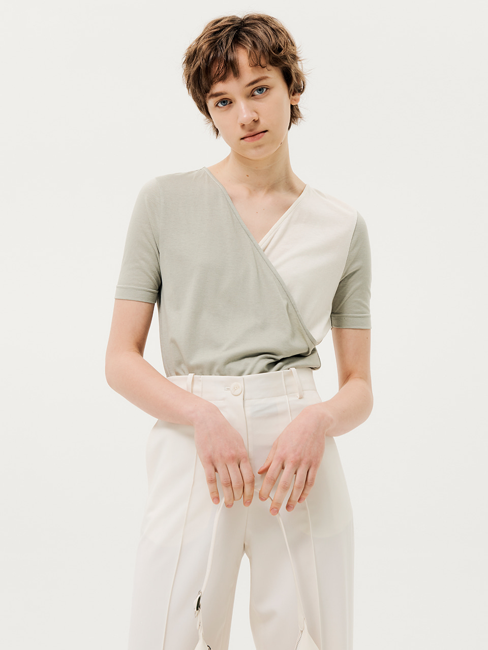 Half Collar Lab T-shirt Light Khaki