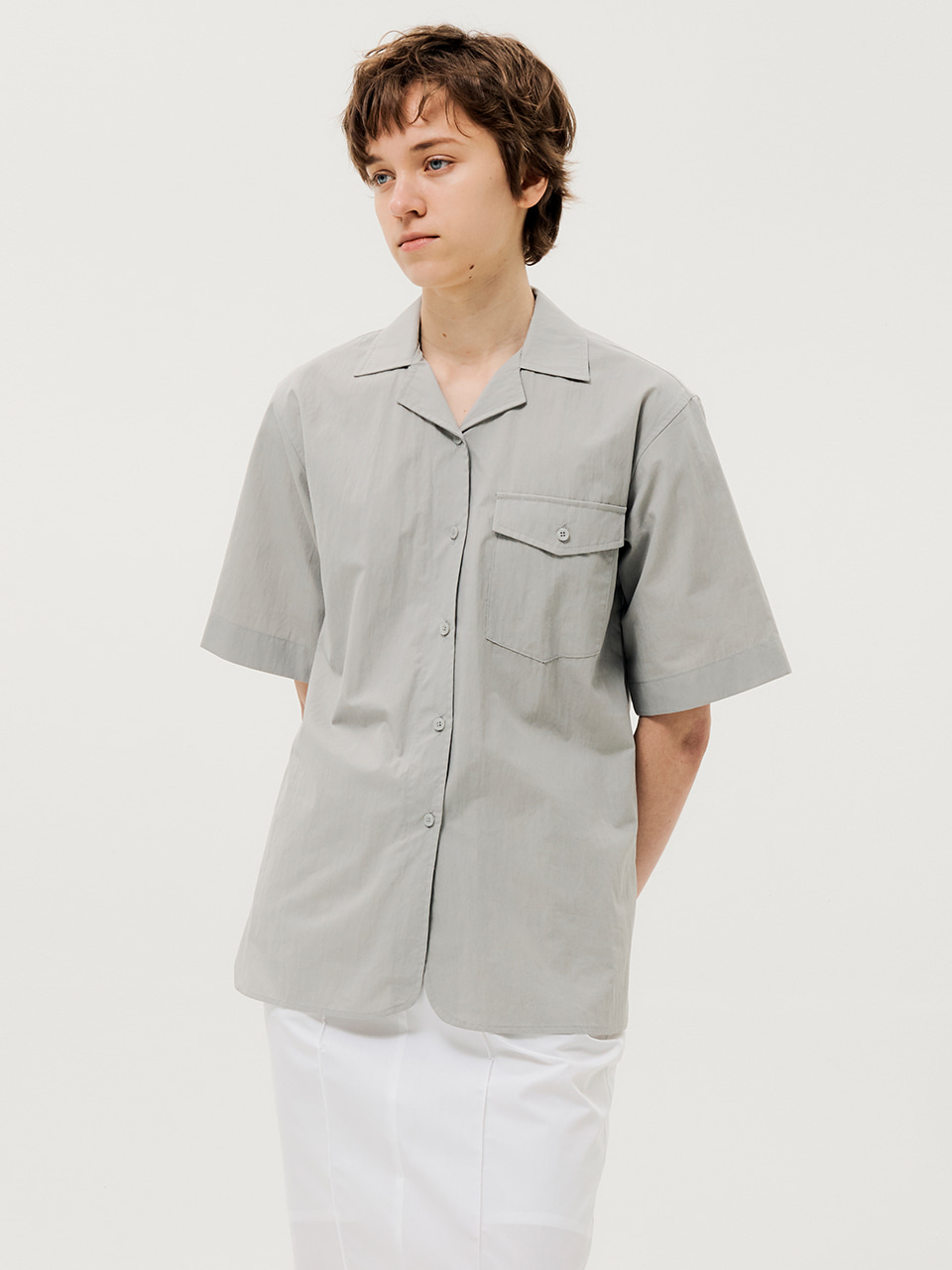 One Pocket Short Sleeve Shirts Grey