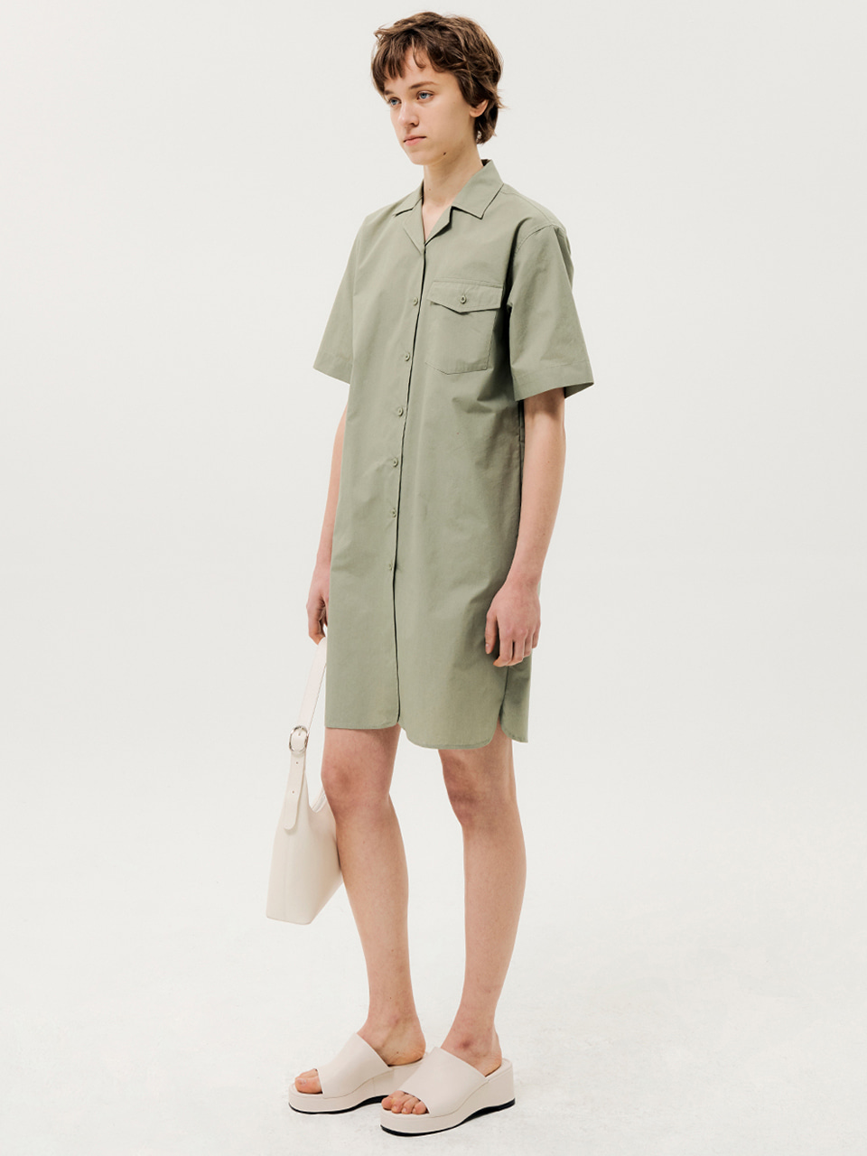 One Pocket Short Sleeve Shirts Dress Khaki