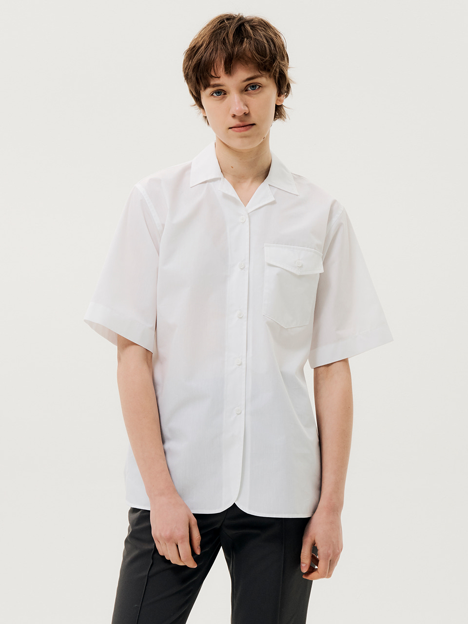 One Pocket Short Sleeve Shirts White