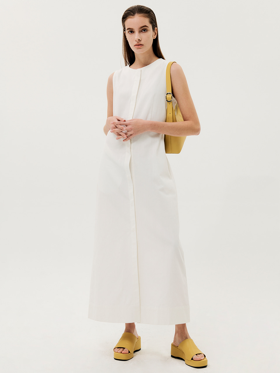 Cocoon Line Sleeveless Dress White