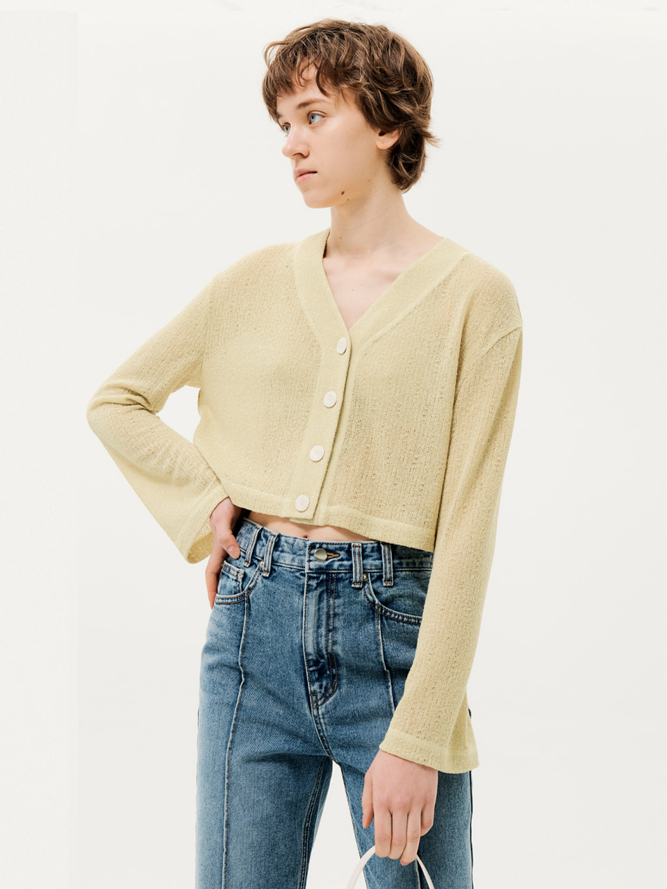 Cropped Sheer Cardigan Yellow