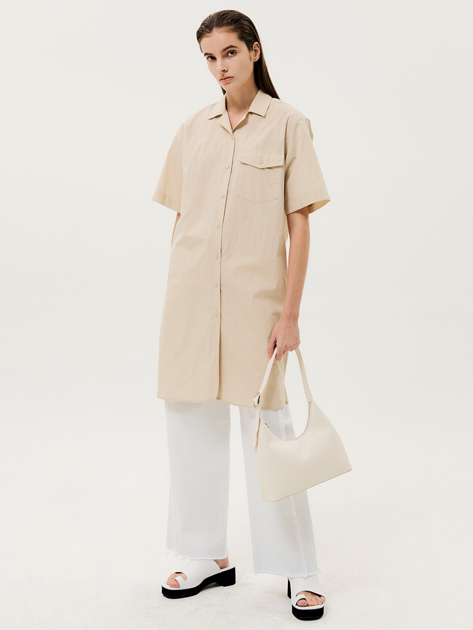 One Pocket Short Sleeve Shirts Dress Beige