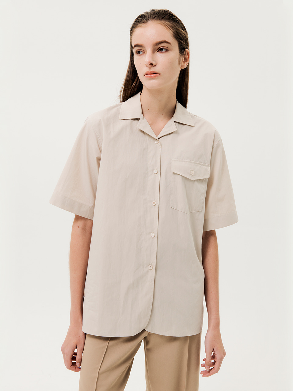 One Pocket Short Sleeve Shirts Light Beige